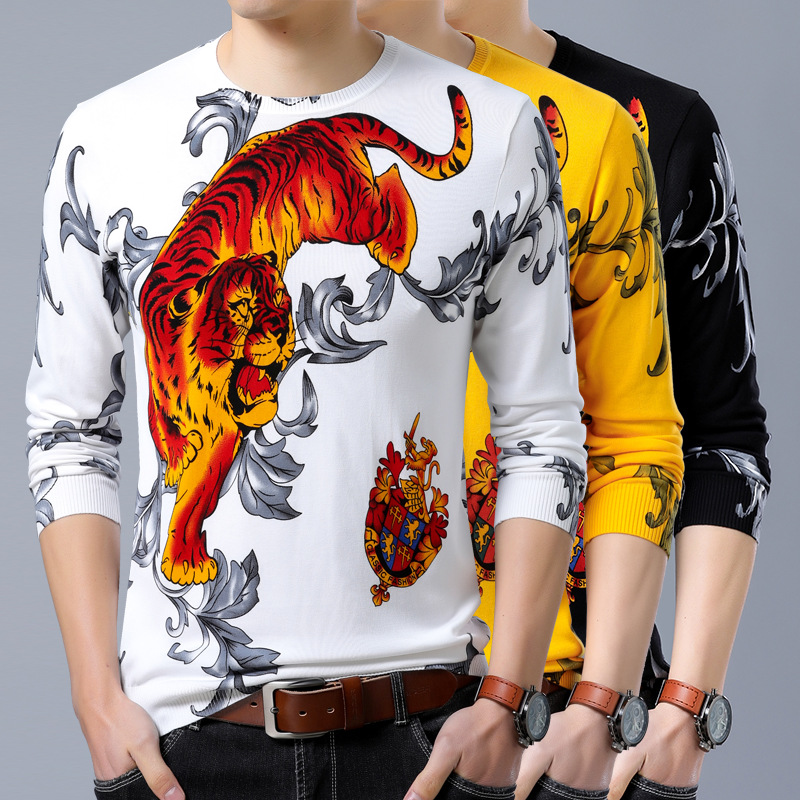 Chinese Style Angry Tiger Pattern 3D Printing Luxury Pullover Sweater Autumn 2018 Quality Cotton Soft Elastic Sweater Men M-XXXL