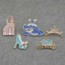 New Mode Pins Crystal Shoe Castle Pumpkin Carriage Blue Dress Crown Brooch Denim Pin Buckle Shirt Badge For Girls Gifts(China)