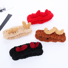 NEW FASHION Kawaii elastic hair band Christmas deer design soft headband personality wash bandage accessories