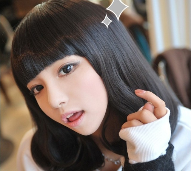 Non-mainstream fashion personality women's curls pear fluffy wig black deep brown