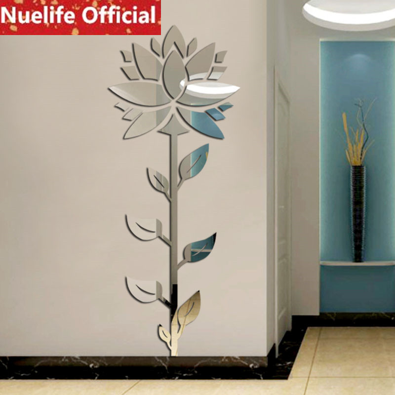 Lotus conception acrylique 3D miroir stickers muraux salle de mariage salon chambre TV canapé fond porche décoration stickers muraux