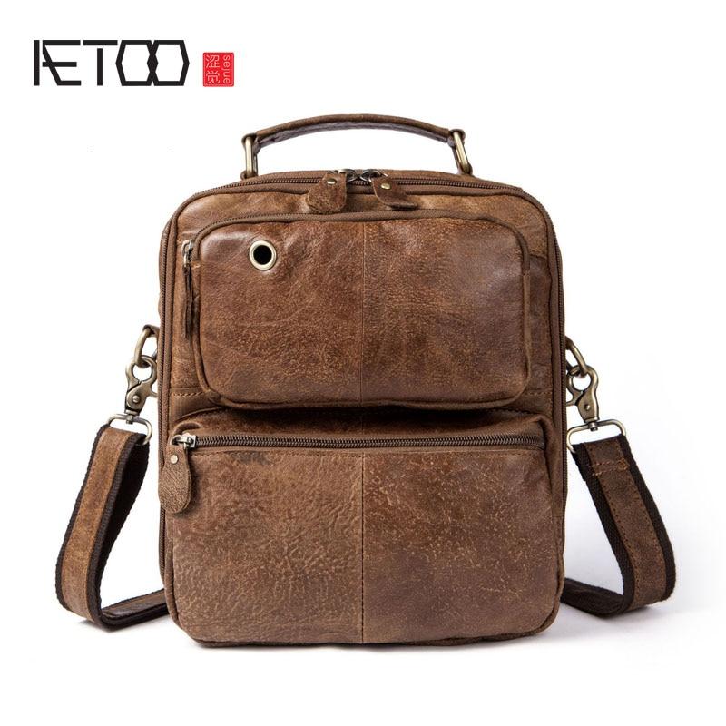 AETOO Men 's Bags Men' s Shoulder Bunny Cowboy Retro Casual Handbag Bunny Bag