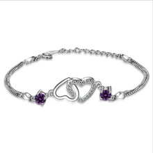 TJP Luxury AAA+ Purple Crystal Stones Women Bracelets Jewelry Top Quality 925 Silver Heart For Girl Bride Party Bijou