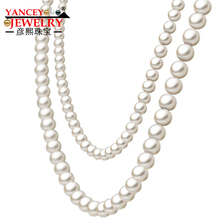 YANCEY JEWELRY Fashion classic natural freshwater pearl necklace 7-8mm long long section of nearly round glare Multilayer