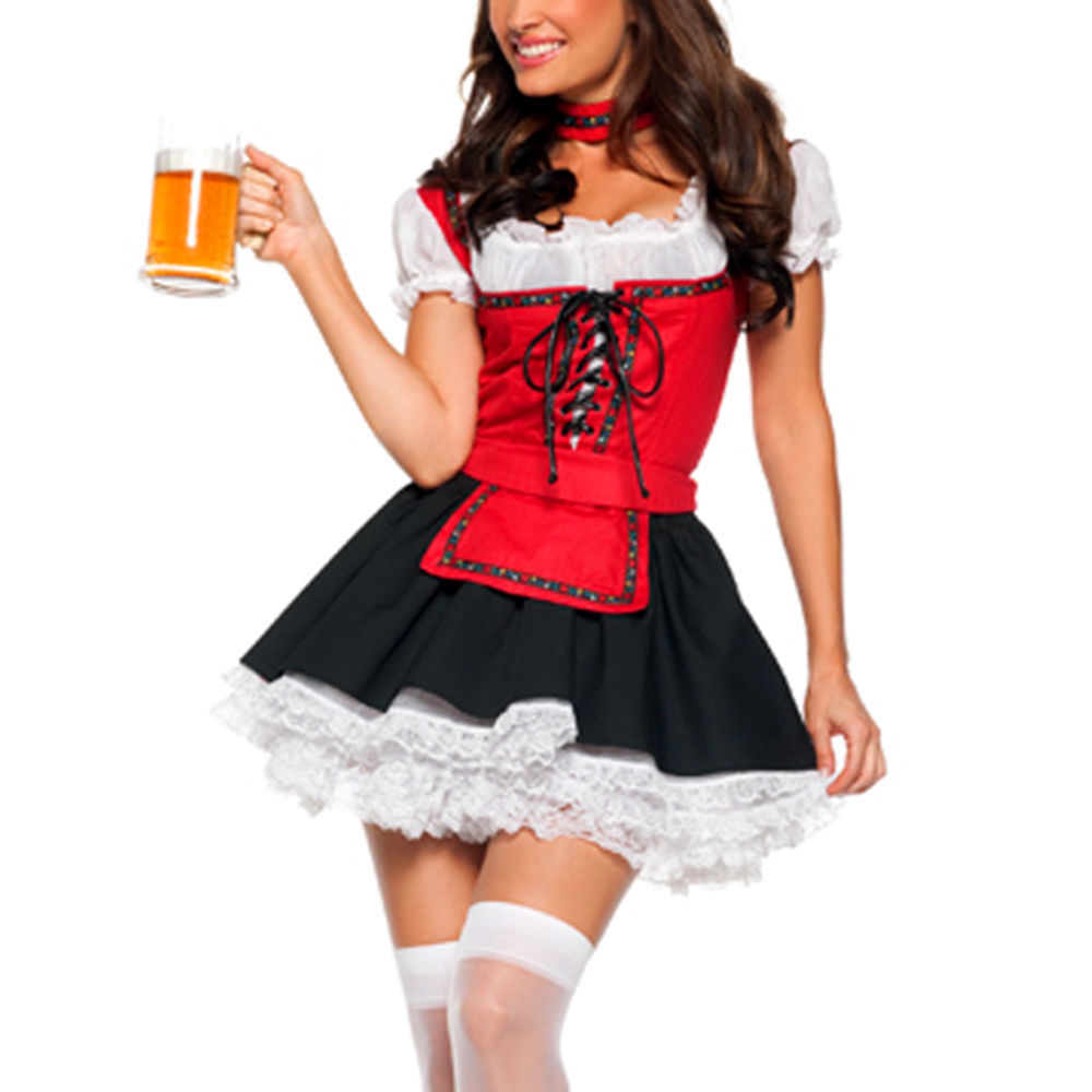 Halloween Service Uniforms Temptation Beer Girl Oktoberfest Costume German Wench Fancy Club Bar Dress Cosplay For Party