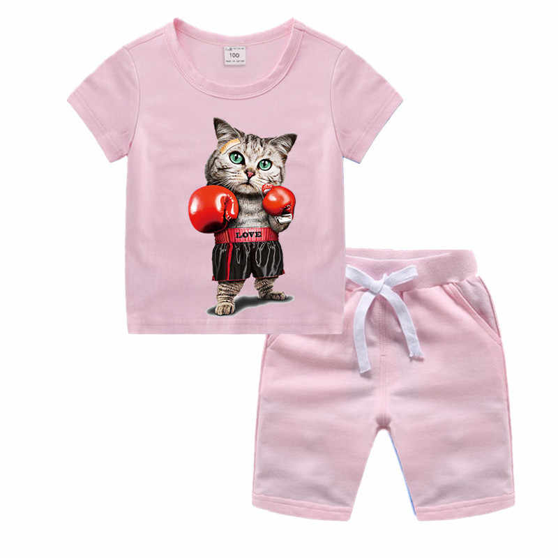 Детские Боксерские Cat Одежда с героями мультфильмов для девочек одежда с мультяшными рисунками комплект сына футболка Goku шорты Для мальчиков ясельного возраста Костюмы комплект