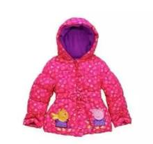 New 2016 Children Girls Cartoon pig patch embroidered cotton-padded clothes baby Printing hooded winter jacket wholesale
