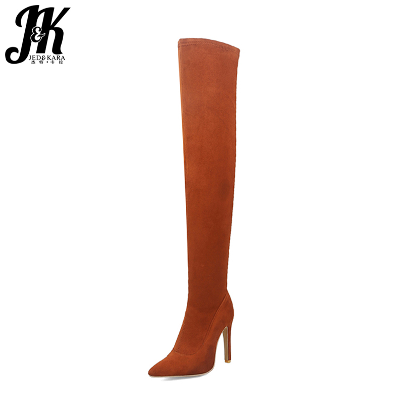 JK Autumn Over The Knee High Heels Women Stretch Boots Pointer Toe Footwear Short Plush Winter Boots 2018 Stiletto Female Shoes