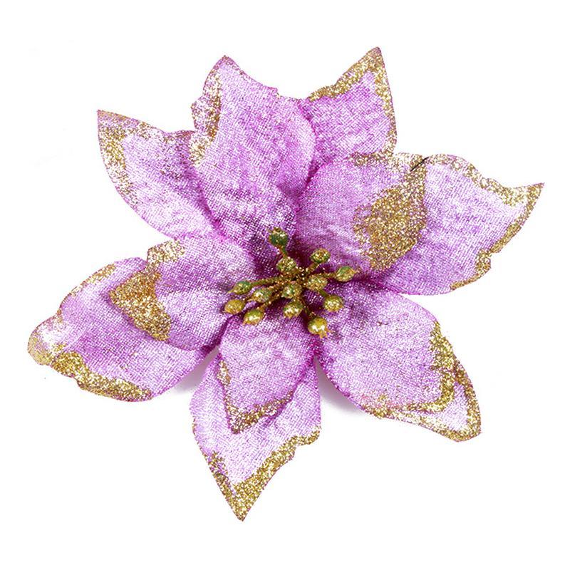 1 шт. 15 см Золотой Край имитация на Рождество цветок для свадебной вечеринки гирлянды украшения многоцветный пластик липкий порошок цветок - Цвет: Фиолетовый