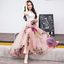 2017, Новая мода эластичный пояс Повседневное шифоновая юбка летние богемные Цветочный принт пляжное макси цветок длинная юбка для Для женщин