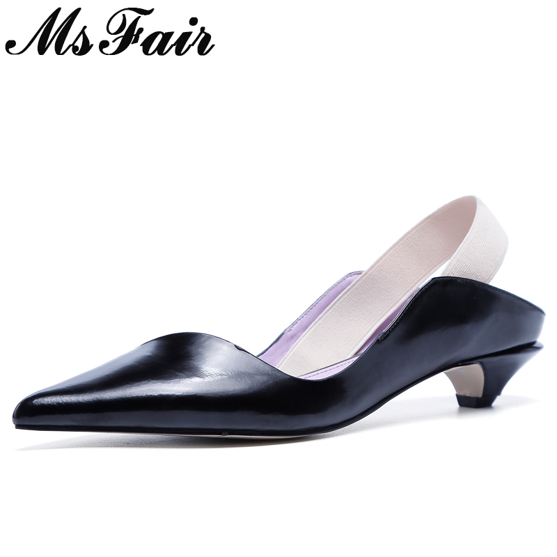 MsFair Pointed Toe Elastic band Sandals Shoes Woman Fashion Med Heel Sandals Women Shoes Sandalias Mujer Shallow Sandals Women anmairon shallow leisure striped sandals women flats shoes new big size34 43 pu free shipping fashion hot sale platform sandals