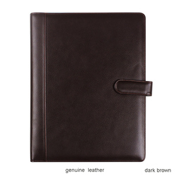 high-grade Business genuine leather file folder a4 manager folder for doucments with calculator ring binder clasp lock 1248