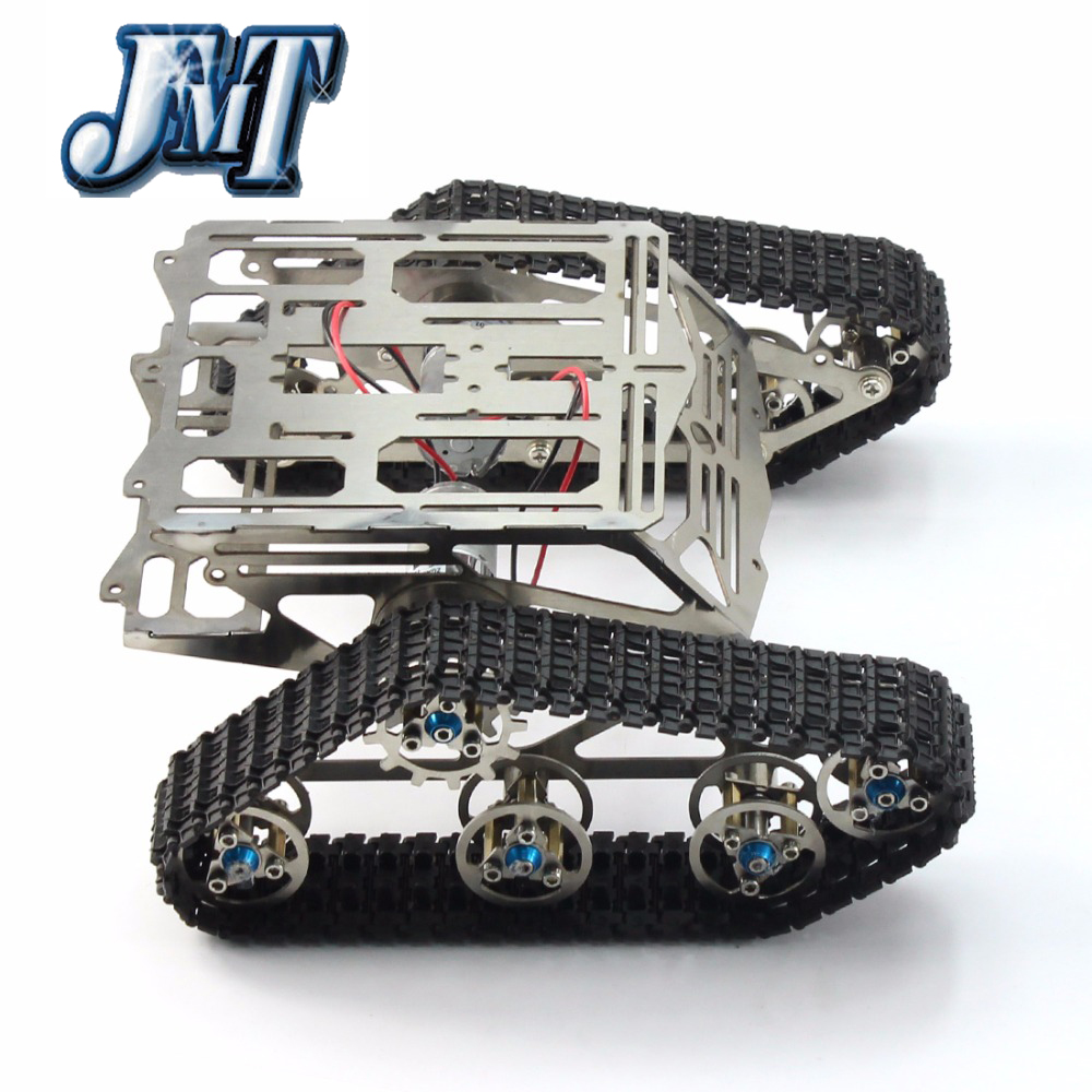 JMT Metal Tank Robot Chassis Track Arduino Tank Crawler Chassis Wali with Motor Stainless Stee Smart DIY Toy unassembled tank chassis enhanced version climbing obstacle metal crawler chassis for smart car track robot model diy parts