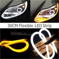 2x 30cm White/Amber Flexible Tube Style Switchback Headlight Strip Angel Eye DRL Decorative Light for BMW Ford Kia Chevrolet