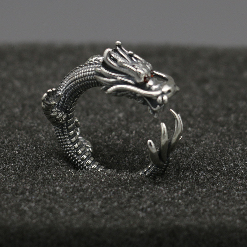 Solid 925 Sterling Silver Ring Men Gothic Punk Style China Dragon Cuff Band With Red Zirconia Stone Thai Silver Tail Ring Men punk style floral hollow out cuff ring for women