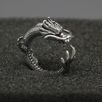 Solid 925 Sterling Silver Ring Men Gothic Punk Style China Dragon Cuff Band With Red Zirconia Stone Thai Silver Tail Ring Men