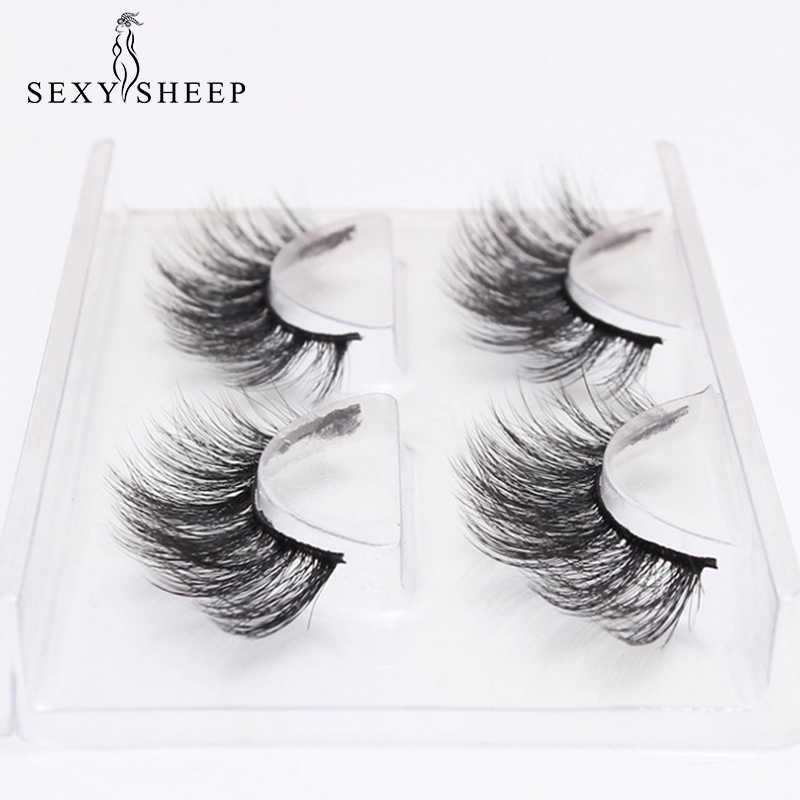 f5863bdf2ae 2 Pairs Natural Long False Eyelashes Handmade 3D lashes Thick Fake Eye  Lashes Extension Women Fashion