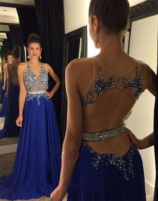 Bleu Royal Sexy dos nu en mousseline de soie longues robes de soirée formelles O cou élégant perlé Appliques robes de soirée robe de soirée 2017