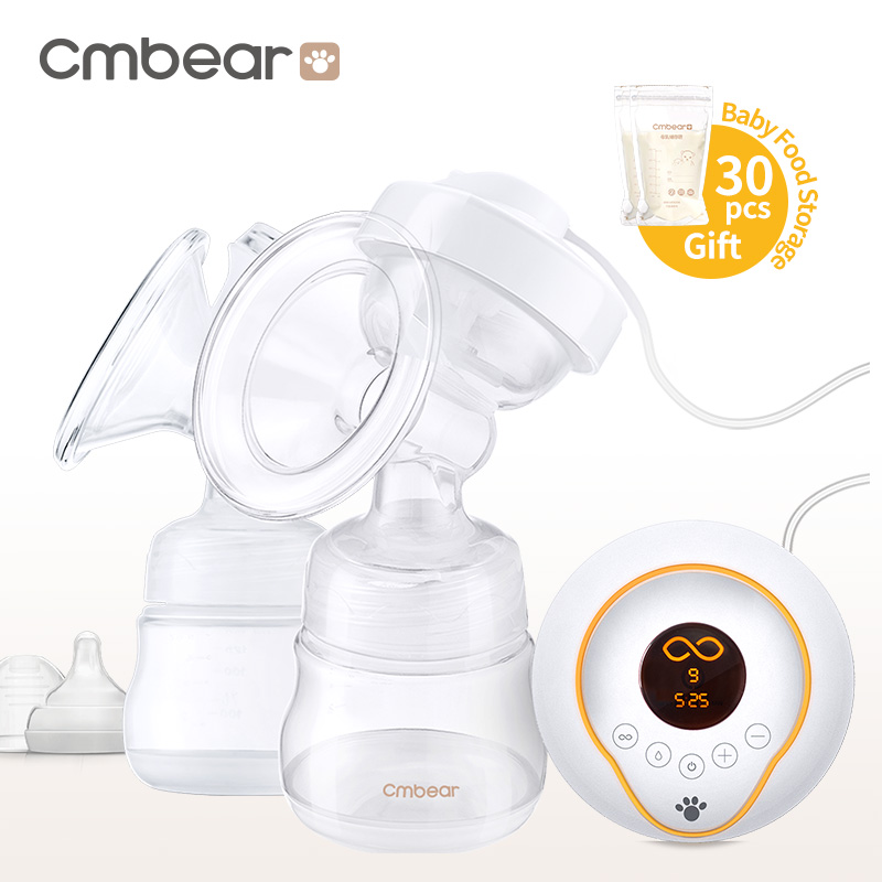 CMbear Double Electric Breast Pump BPA Free LED display Chargeable use snug s815s manual breast pump