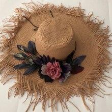ZJBECHAHMU Fashion Solid Vintage Floral Straw Sun Hats For Women Big sunshade beach Summer hats outside Fedoras 2019 New