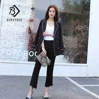 2018 Spring/Autumn OL Double Breasted Pants Suit Slim Blazer Two Piece Set Elastic Waist Solid Jacket & Pant Blazer Hot S83407F
