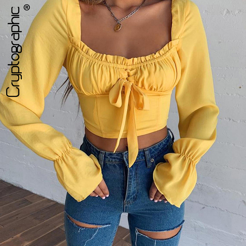 Cryptographic Vintage Square Collar Casual Sexy   Blouse   Femme 2019 Summer Women Top Bow Backless Long Sleeve Yellow   Blouse     Shirts