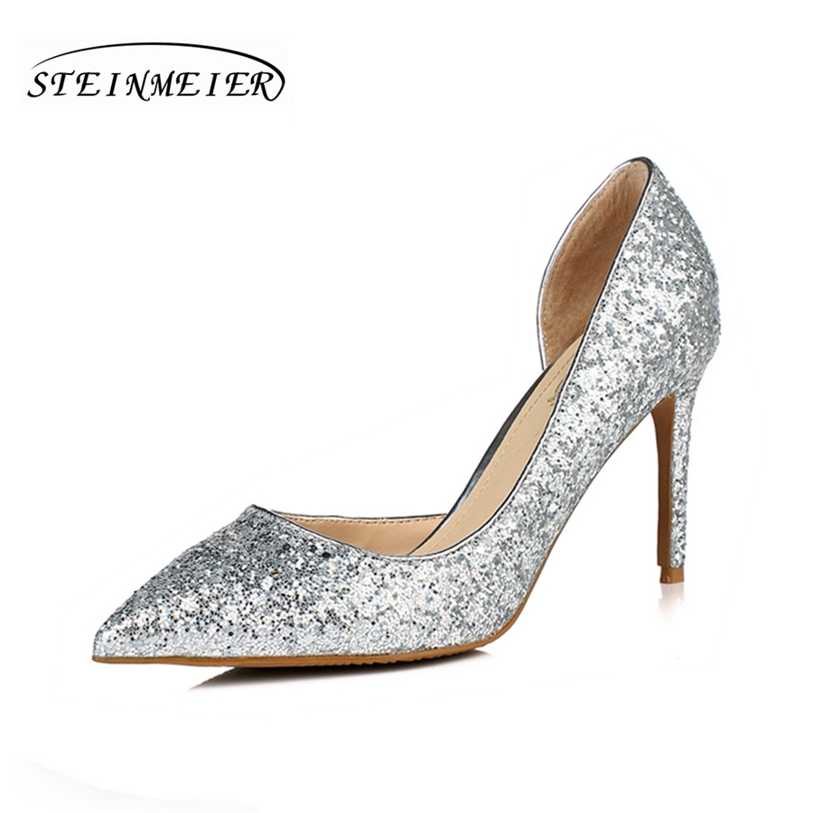 Women high heels shoes sexy pumps nightclub shallow thin heel 10.5cm 8.5cm womens glitter leather pump silver wedding shoes