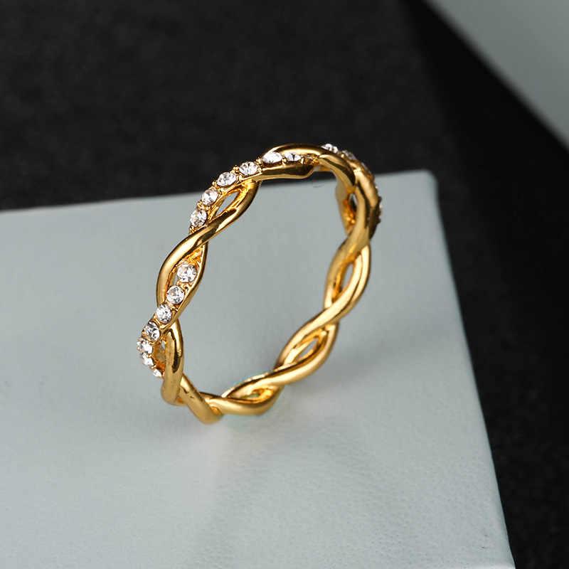 เงินรอบแหวนบาง Rose Gold สี Twist เชือกซ้อนแหวนสำหรับผู้หญิง