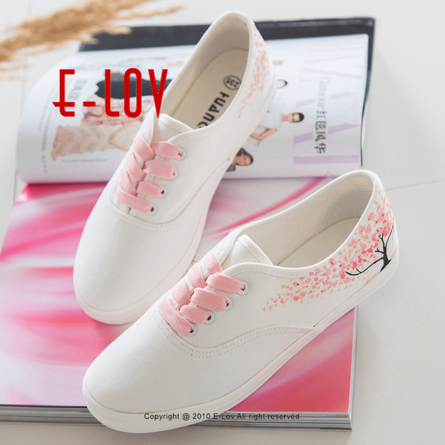 E-LOV Special Pink Leaf Tree Pattern Platform Shoes Design Hand-Painted Canvas Shoes Cute Personalized Women Adult Casual Shoes
