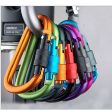 3pcs Quality Aluminum Alloy D Shape Carabiner Screw Lock Bottle Hook Keychain Buckle Hanging Padlock Key Chain Camping Hiking