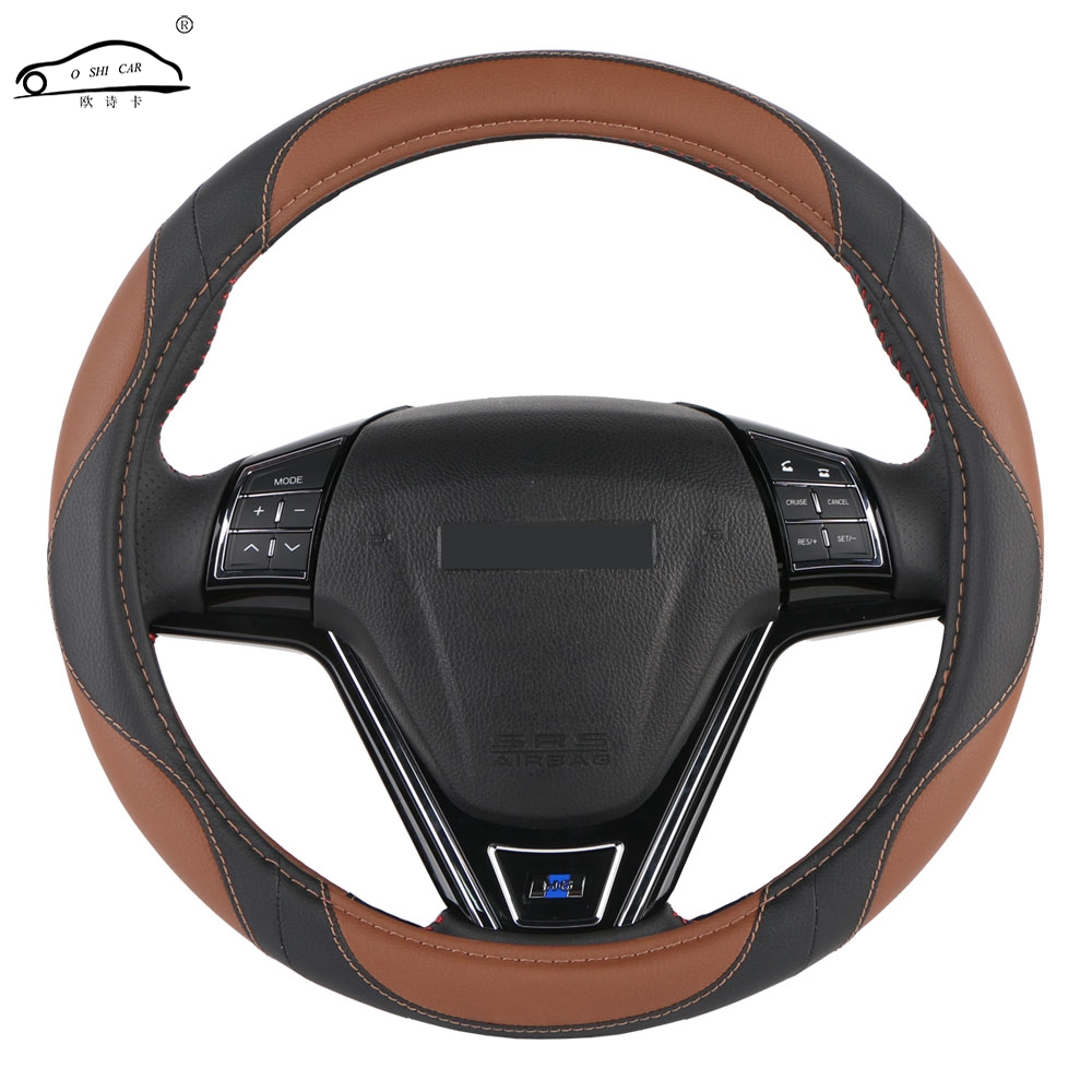 Car Steering Wheel Cover Leather Universal 38CM-50CM Breathable Non-Slip Protective Cover for Cars//Trucks//SUV//Van//Gray,38CM
