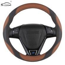 Funda Universal de cuero artificial para volante, 38 cm, estilo deportivo, trenza para interior de coche