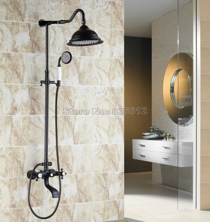 Dual Cross Handles Rain Shower Faucet Set Bathroom Wall Mounted Black Oil Rubbed Bronze Bath Tub Mixer Tap Whg602