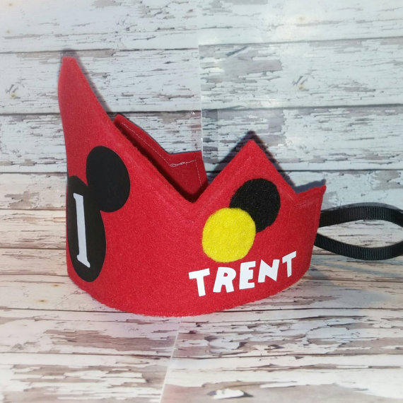 Mickey Mouse Birthday Crown WITH NAME NUMBER Hat First Party Cap