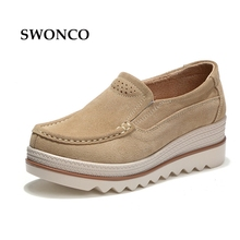 Swonco sapatos femininos 2018 primavera outono couro genuíno plataforma tênis deslizamento em sapatos casuais feminino cunha tênis para mulher