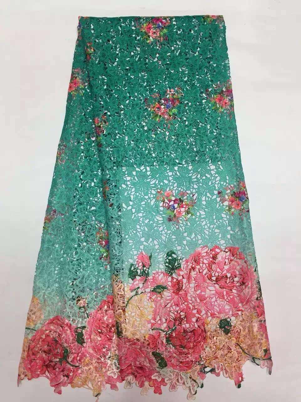 Hohe qualität der netzwerk/wasserlösliche spitze spitze/seil spitze rosa Blume in blatt grün guipure spitze stoff