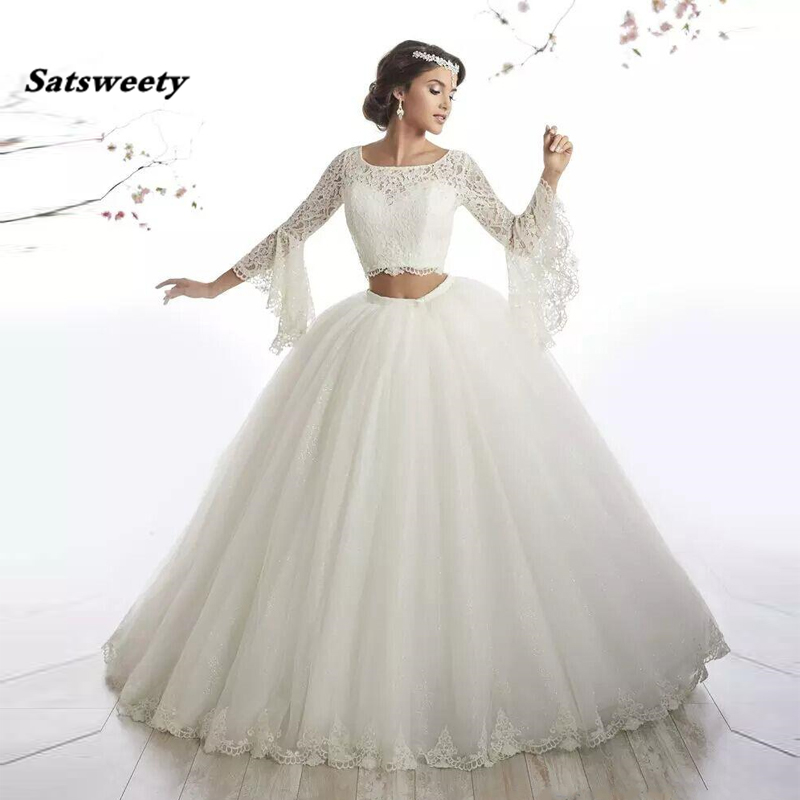 Ball Gown Two Piece Wedding Dresses Flare Sleeves Lace Tulle Floor