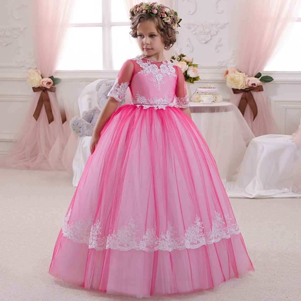 New Rose Red Girls Pageant Dresses Half Sleeves Patchwork O-Neck Ball Gown Girls Communion Dresses Hot Vestido De Comunion green crew neck roll half sleeves mini dress