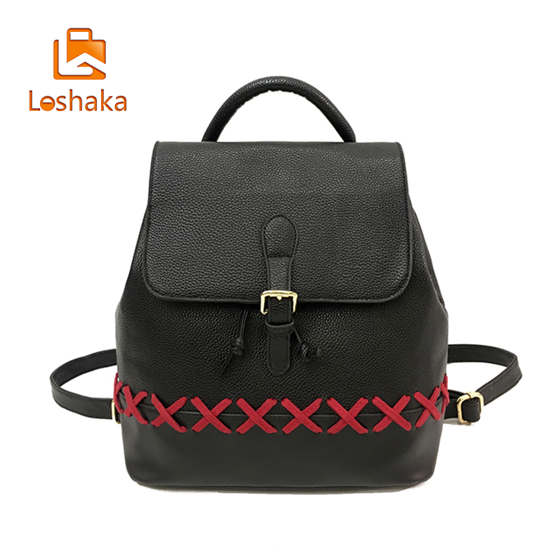 Loshaka Brand Backpack Women Backpacks Solid Vintage Girls School Bags for Girls Black PU Leather Women
