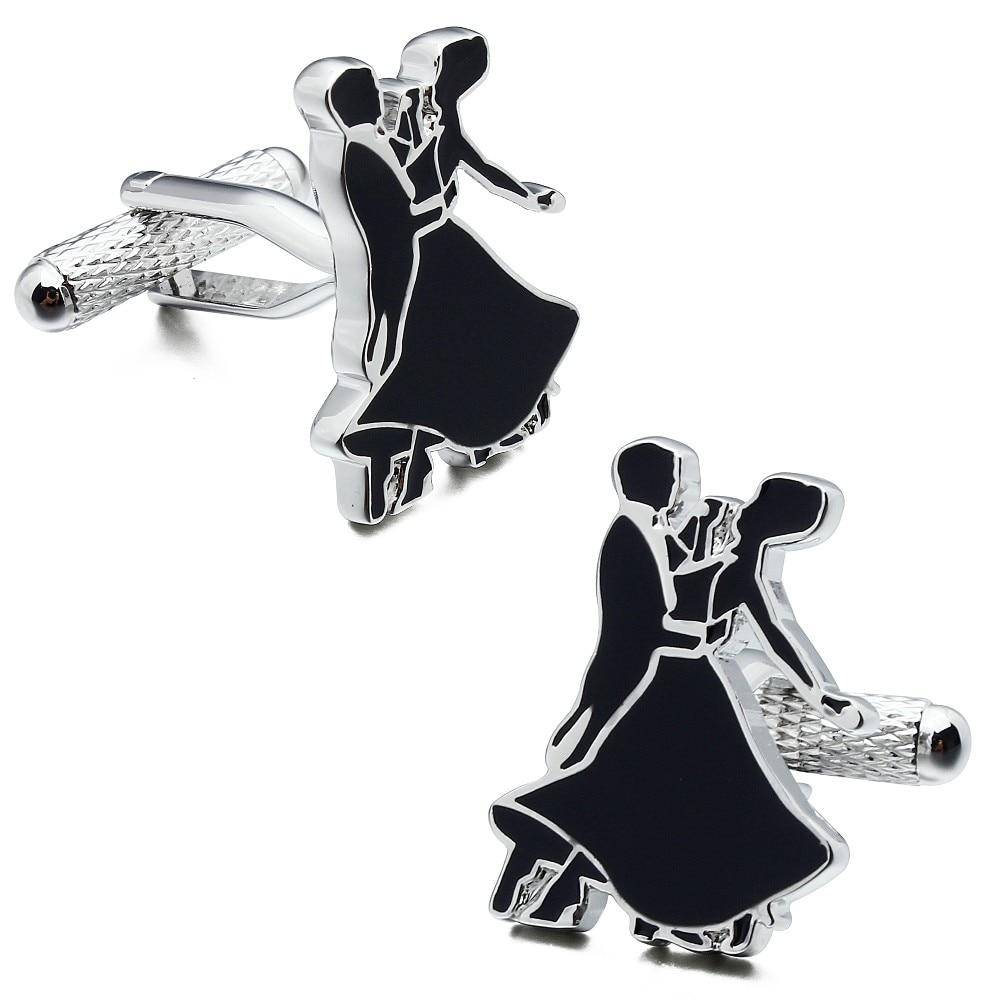 Brand Hawson Valentine Gift Black Enamel Dancing Couple Cuff links In Box