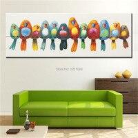 Hand Painted Idea Funny Birds Wall Canvas Painting Abstract Sitting Room Decoration Comic Cartoon Bird Art