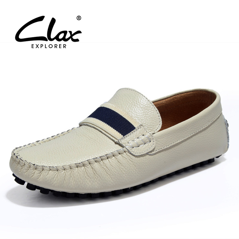CLAX Men Boat Shoes Genuine Leather 2017 Summer Autumn Casual Leather Shoe for Male Flats Loafers Designer Moccasin Soft branded men s penny loafes casual men s full grain leather emboss crocodile boat shoes slip on breathable moccasin driving shoes