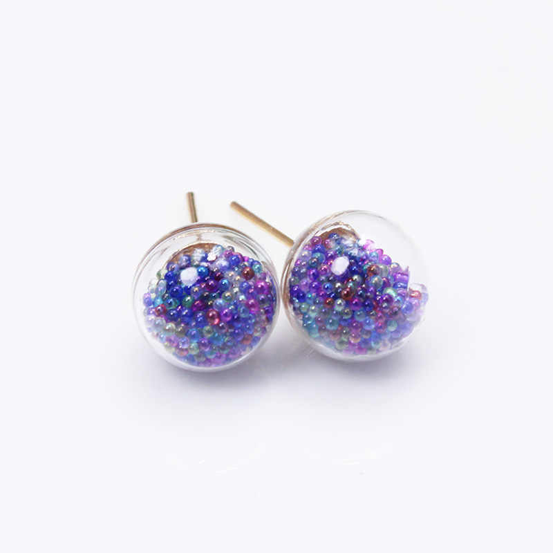 new fashion brand jewelry handmade glass beads stud earrings for women candy color statement gift tiny earrings free shipping