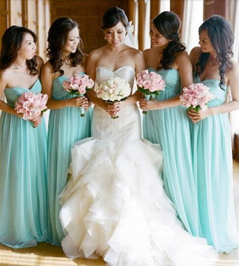 Jade colored bridesmaid dresses
