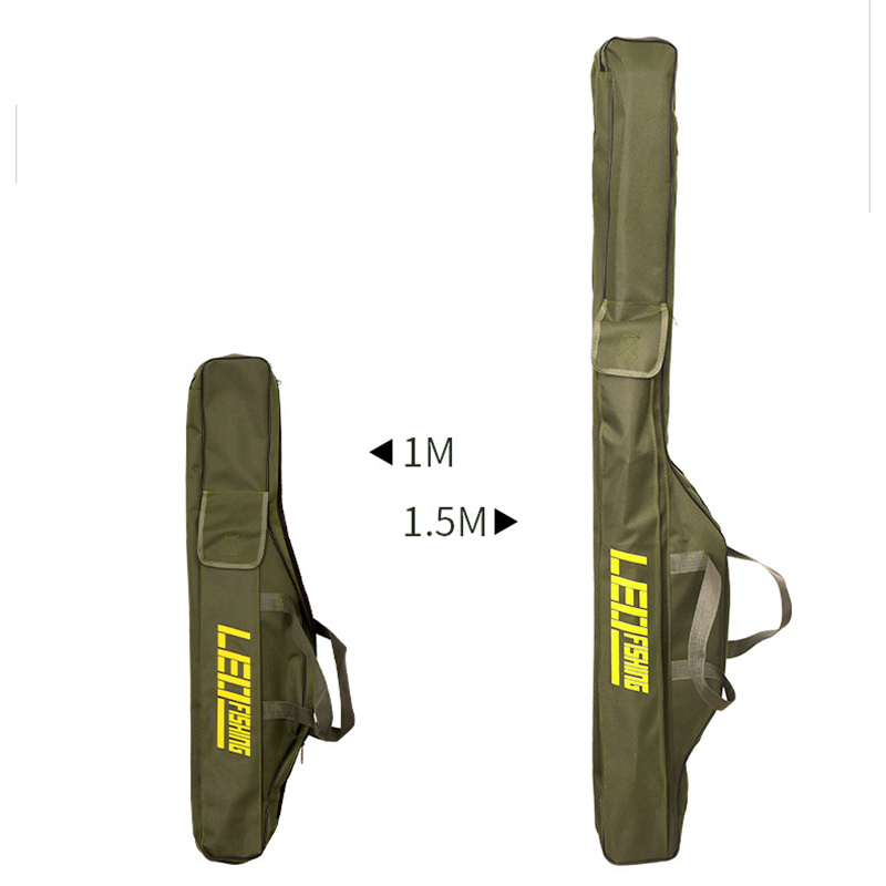 Double Layer Canvas Fishing Bag 100cm 150cm Portable Folding Fishing Rod Bag Fishing Tackle Carrier Bag (3)