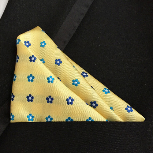 Lingyao Luxury Pocket Square High Quality Woven Handkerchiefs Yellow With Blue Floral Flower