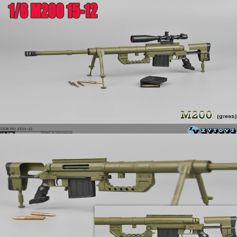 Brand New 1/6 Scale Weapon Model Toys Barrett M200 ZY15-12 Army Green Sniper Rifle Model For 12'' Action Figure Toy Accessories 1 6 scale metal color cheytac intervention m 200 sniper rifle weapon model toys zy15 11 for 12 action figure accessories