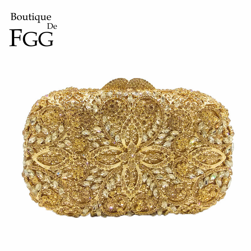 Boutique De FGG Hollow Out Women Gold Crystal Metal Clutches Minaudiere Handbag Diamond Evening Bags Bridal Wedding Clutch Bag