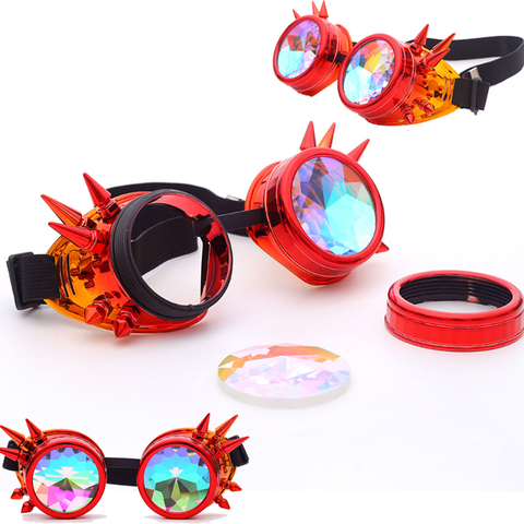 FLORATA Kaleidoscope Colorful Glasses Rave Festival Party EDM Sunglasses Diffracted Lens Steampunk Goggles Multan