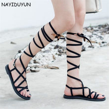 NAYIDUYUN Women's Strappy Knee High Suede Leather Sandals Flat Heel Flip Flops Gladiator Thong Sandals Long Strap Summer Party